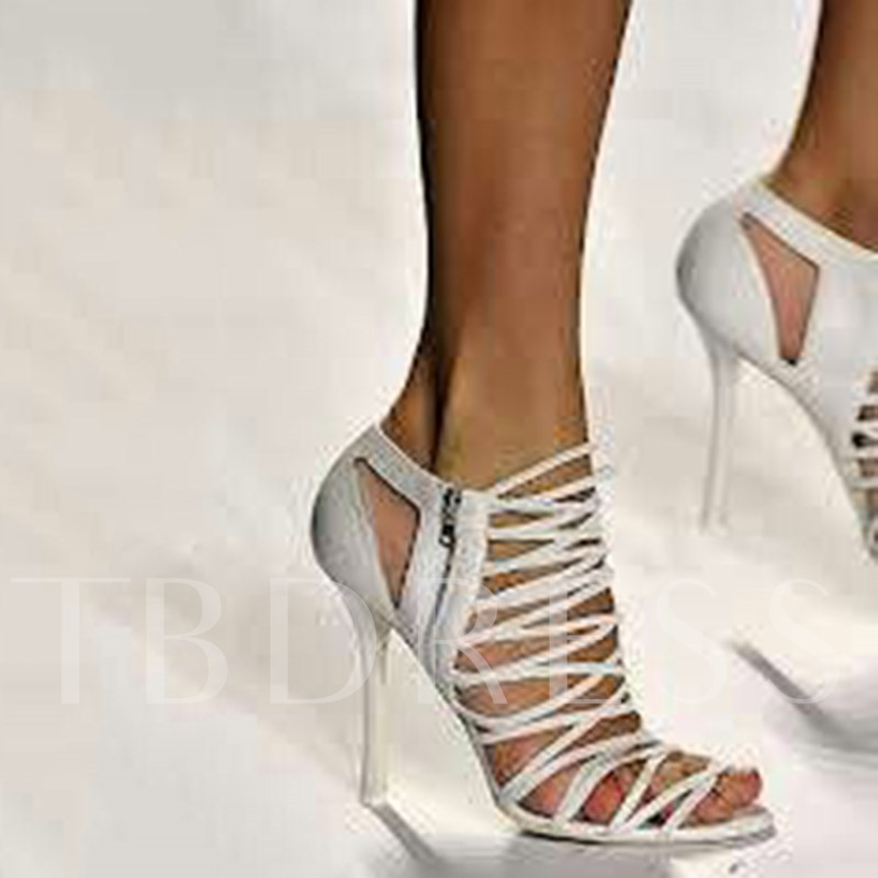 Hollow Zipper Stiletto Heel White Sandals