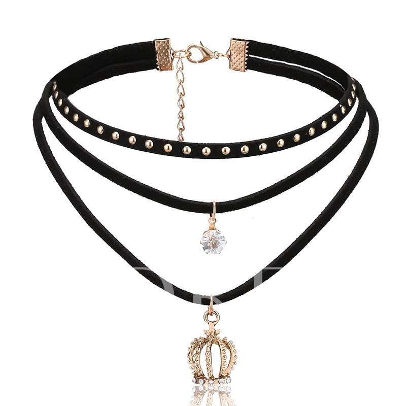 Crown Shaped Diamante Rivets Black Rope Torques Choker Necklace