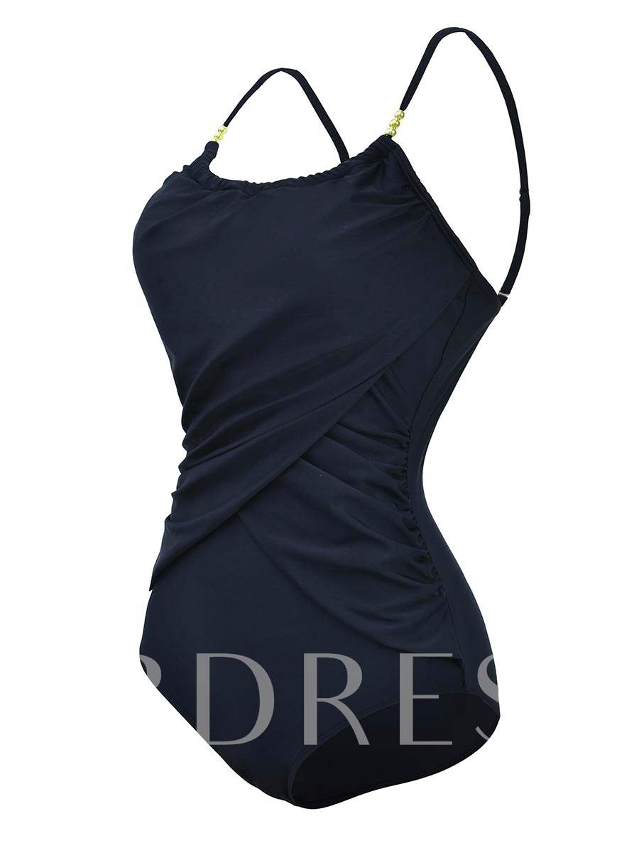 Patchwork Color Block Pleated One-Piece Swimsuit