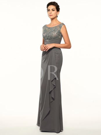 Scoop Neck Lace Sheath RuchedMother Of The Bride Dress