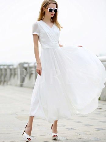 Pleated Patchwork Puff Sleeve Women's Maxi Dress