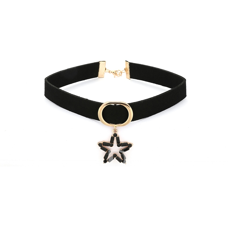 Hollow Out Star Velet Rope Alloy Torques Choker Necklace
