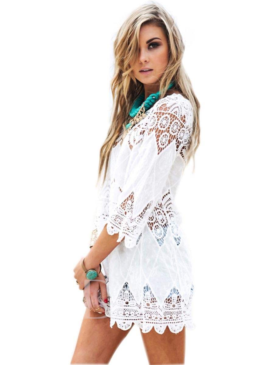 Hollow Embroidery Half Sleeve Cover-Up