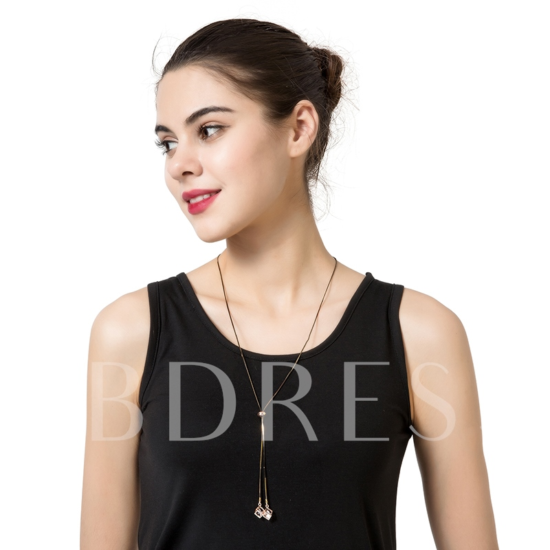 Hollow Out Rhinestone Pendant Long Chain Necklace