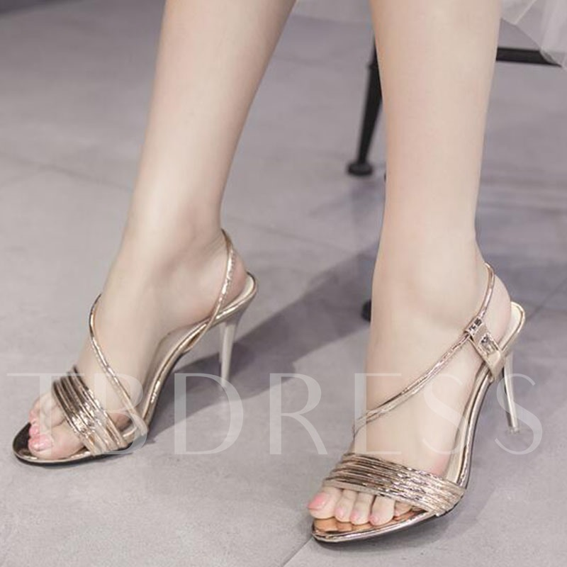 Golden Silver Stiletto Heel Women's Sandals