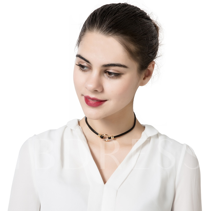 Gold Circle Alloy Black Rope Simple Torques Choker Necklace