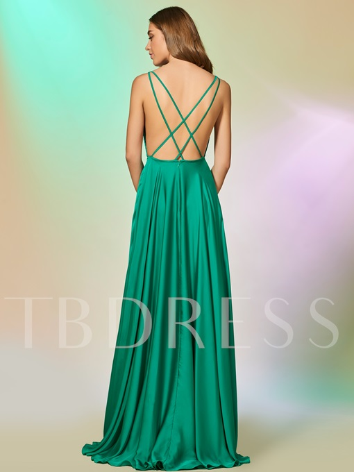 Spaghetti Straps A-Line Criss-Crop Straps Floor-Length Prom Dress