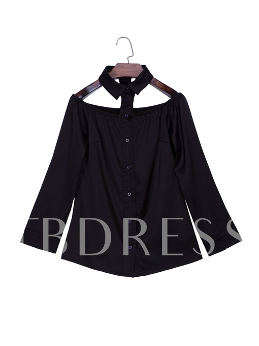Halter Plain Button Up Women's Blouse