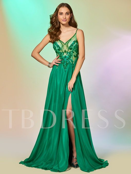 Spaghetti Straps Beading Lace Split-Front Prom Dress
