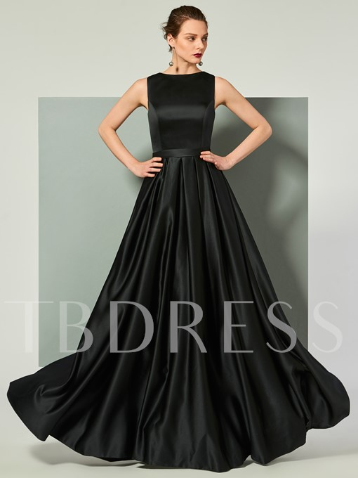 Scoop Lace Sashes Sleeveless Floor-Length Evening Dress