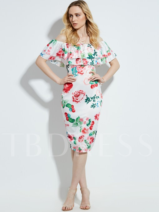 Vacation Slash Neck Floral Print Women's Sheath Dress