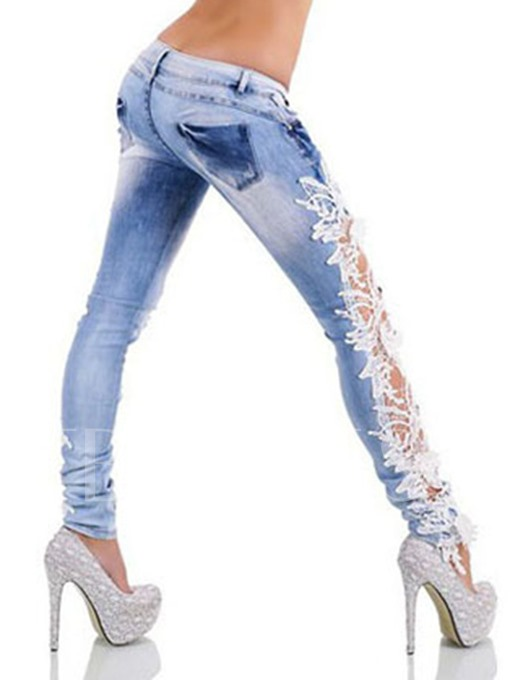 White Lace Denim Hollow Patchwork Women's Jeans