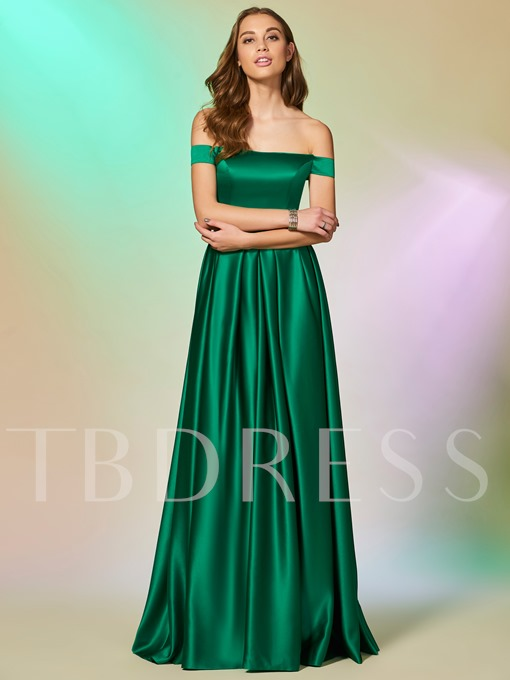 Off-the-Shoulder A-Line Ruched Sashes Evening Dress