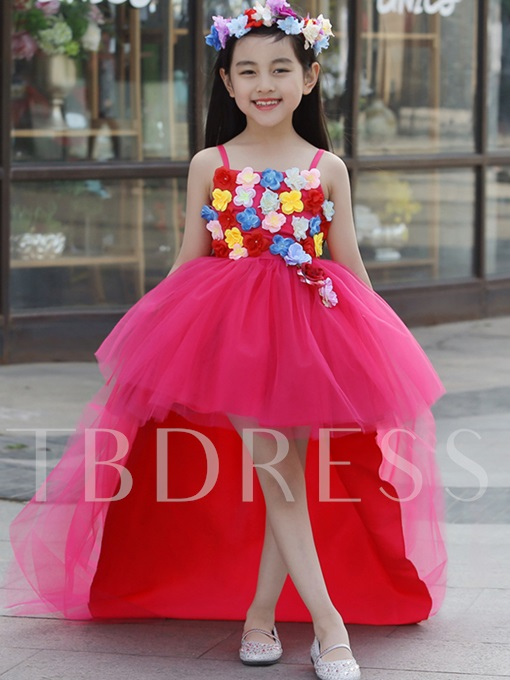 Spaghetti Straps Hi-Lo Flower Girl Party Dress