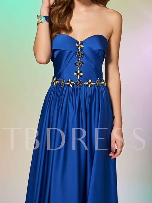 A-Line Sweetheart Beaded Sweetheart Floor-Length Prom Dress