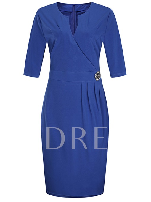 Simple Pullover Formal Plain Women's Bodycon Dress