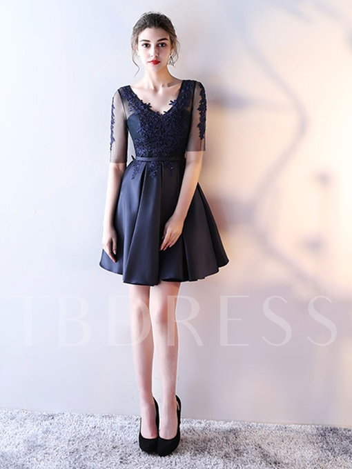 V-Neck Appliques Beading Sashes Homecoming Dress