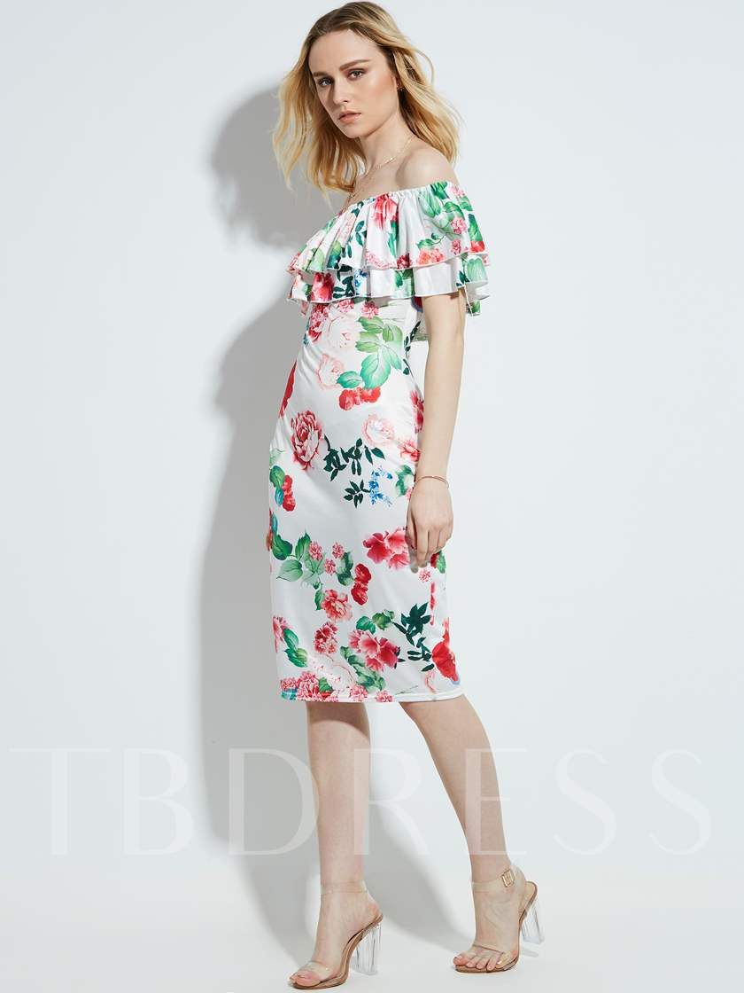 Vacation Off Shoulder Floral Print Women's Sheath Dress
