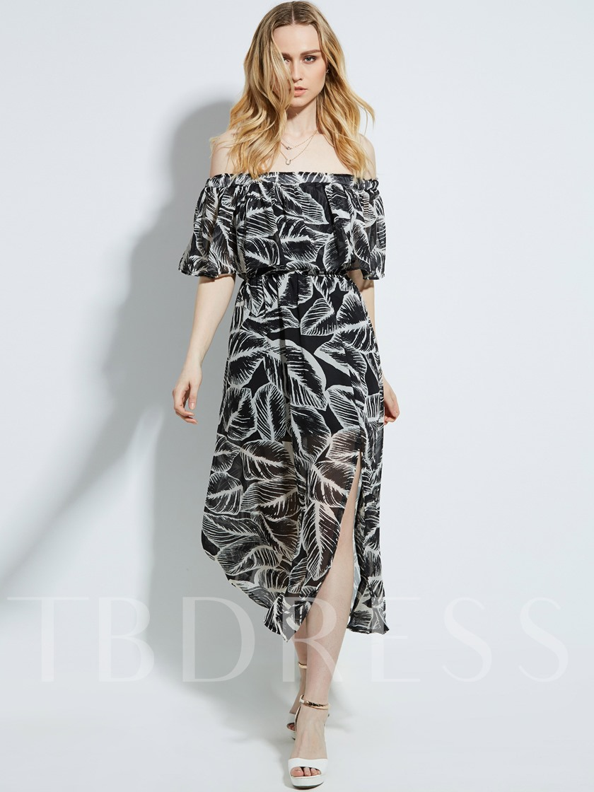 Vacation Boat Neck Floral Imprint Women's Maxi Dress