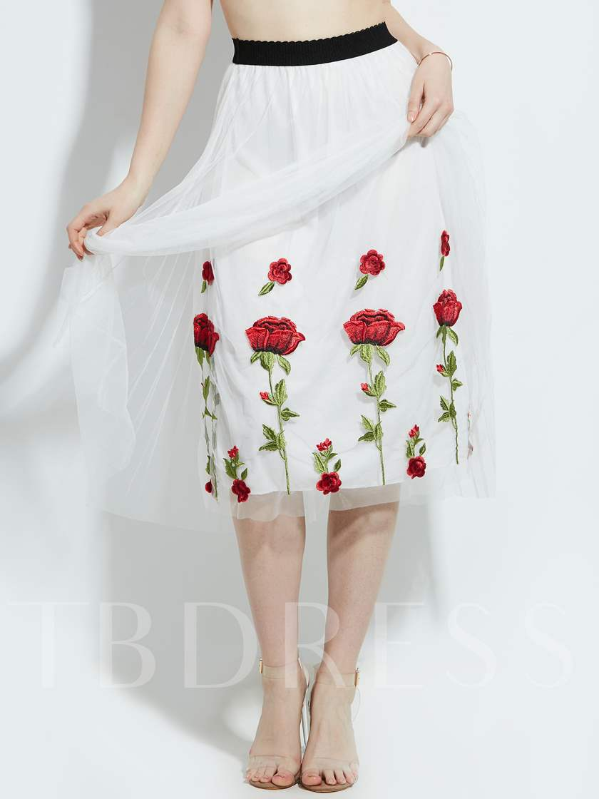 Flower Print Mesh Patchwork Pleated Vacation Skirt