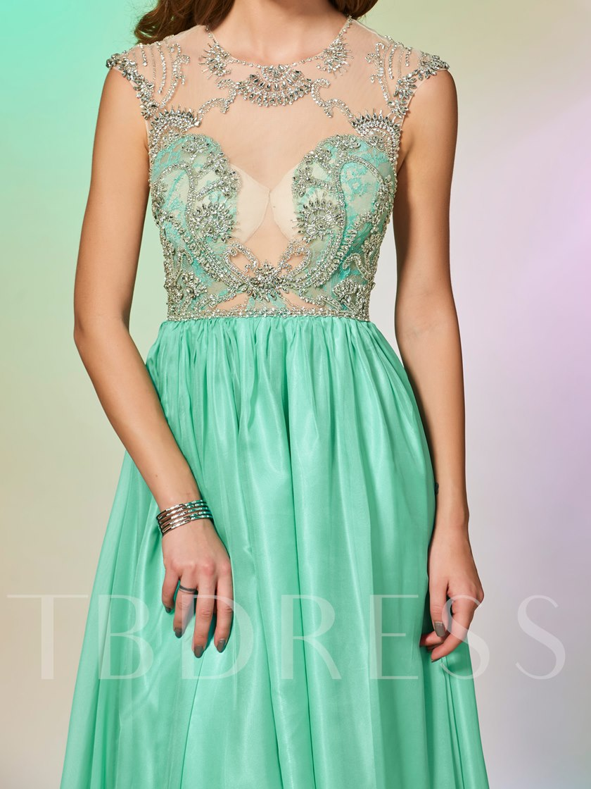 Cap Sleeves A-Line Beading Lace Scoop Floor-Length Prom Dress