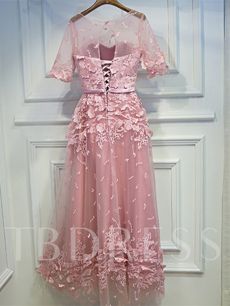 Scoop Lace Half Sleeves Sashes A-Line Floor-Length Evening Dress