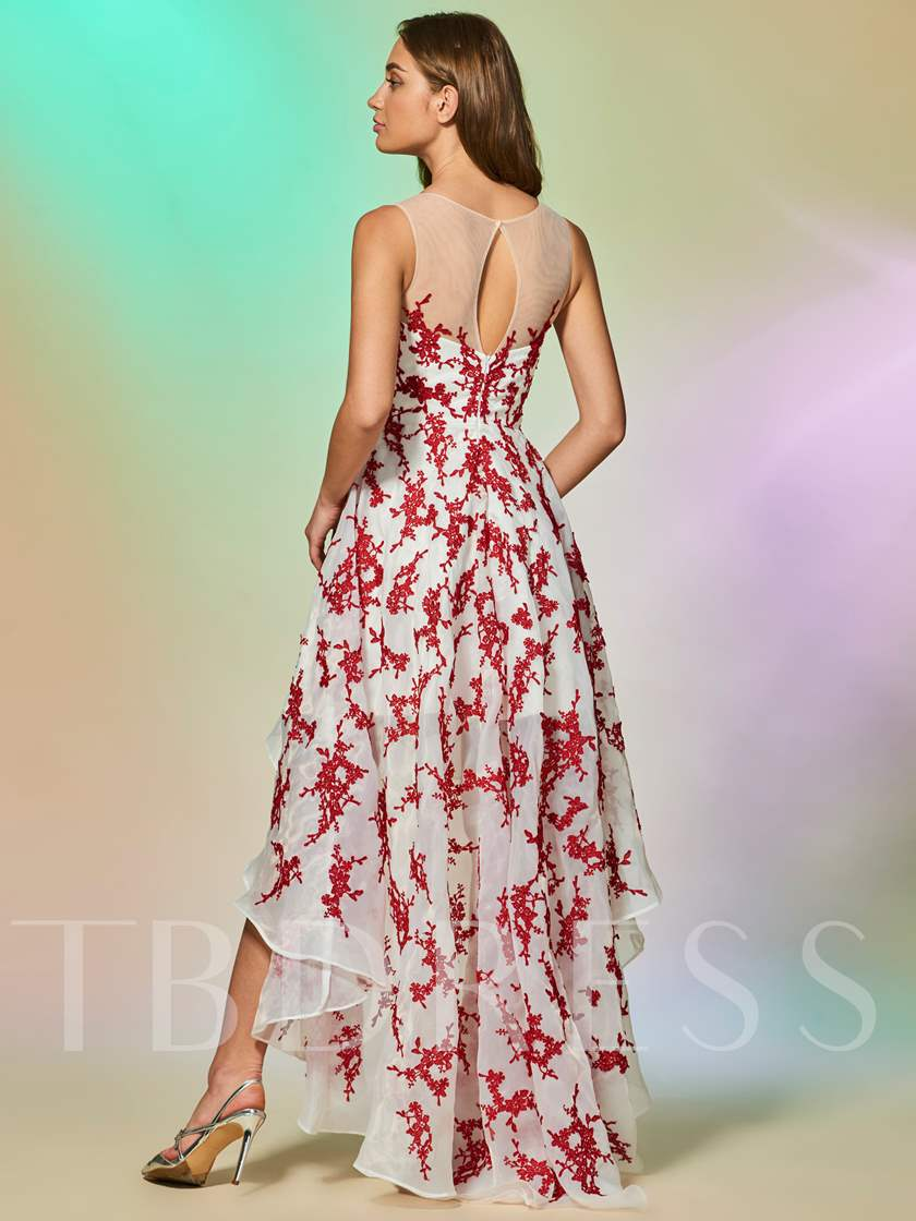 A-Line Appliques Scoop Sleeveless Asymmetry Prom Dress