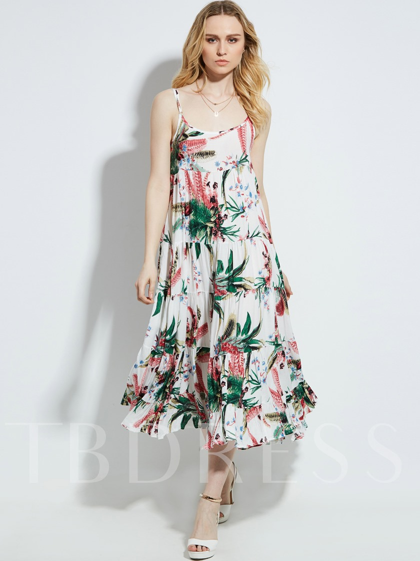 Spaghetti Strap Plant Layered Vacation Women's Maxi Dress