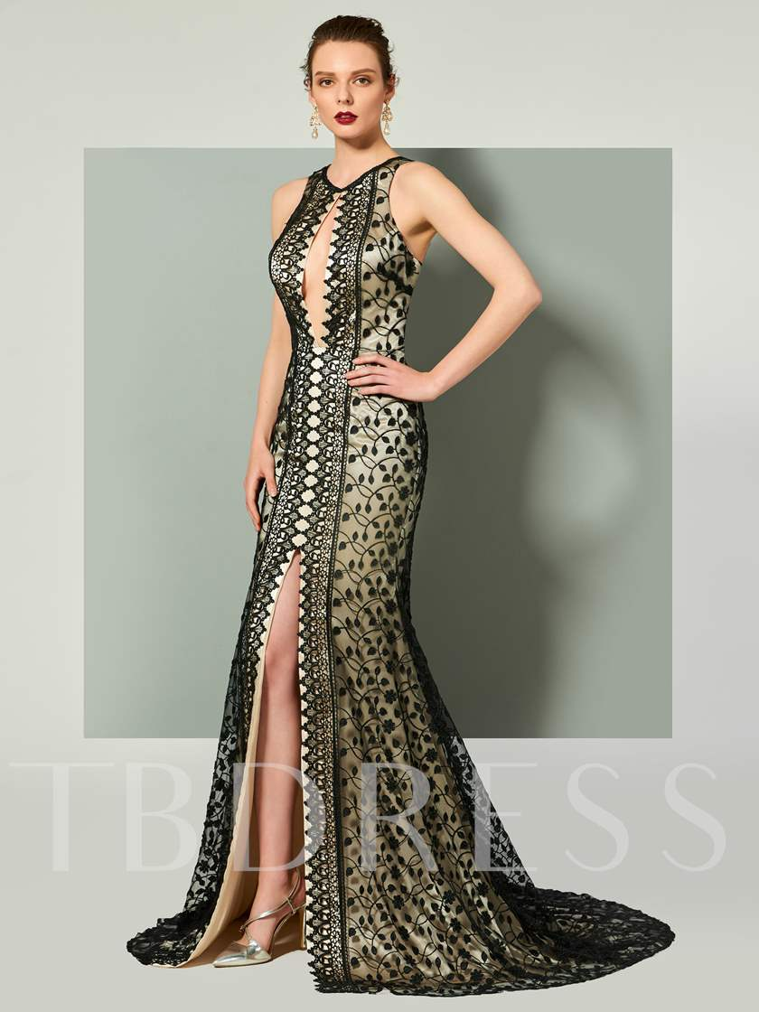Mermaid Backless Lace Scoop Evening Dress