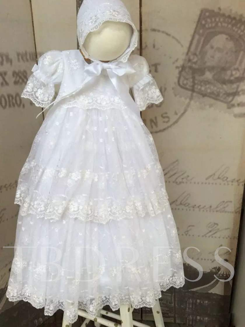 Tulle Lace Baby Girls Baptism Dress with Bonnet