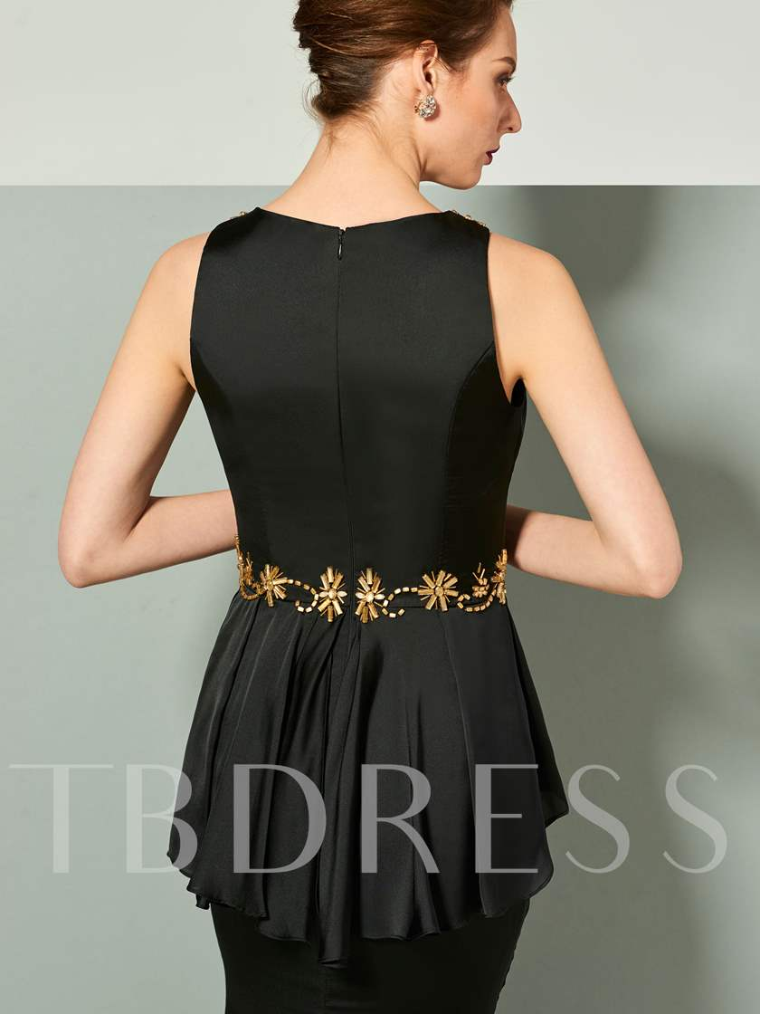 Straps Ruffles Beaded Sheath Black Evening Dress