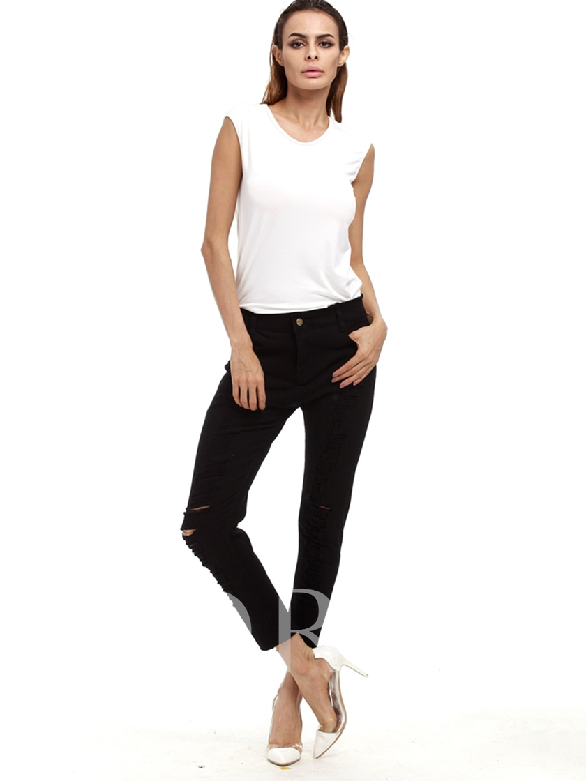 Plain Hole Pocket Skinny Denim Patchwork Women's Jeans