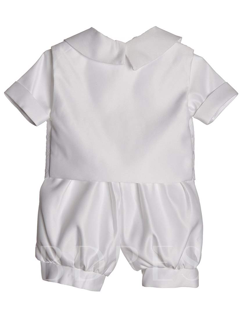 Short Sleeve Baby Boys Christening Outfits with Bonnet