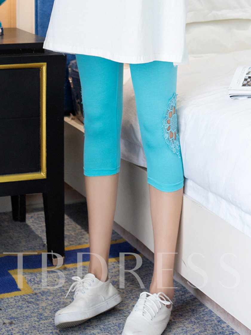 Pure Color Hollow Pattern Cropped Women's Leggings