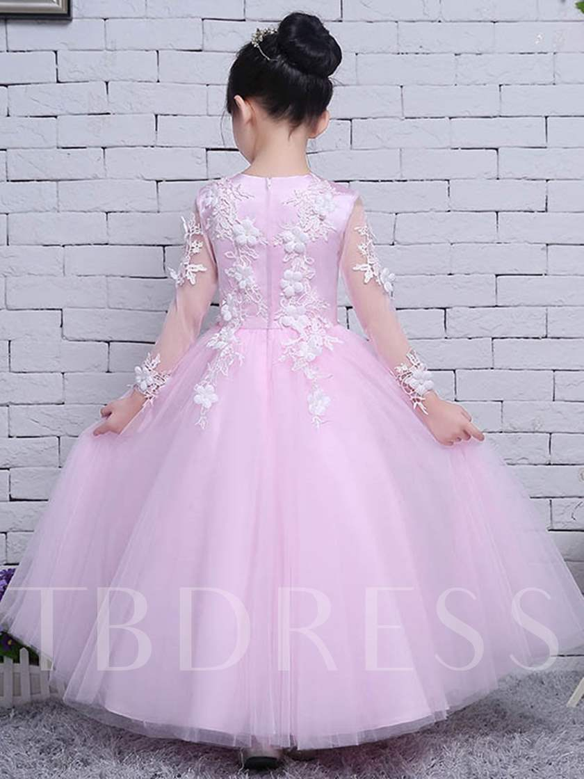 Tulle Lace Long Sleeves Ball Gown Flower Girl Party Dress