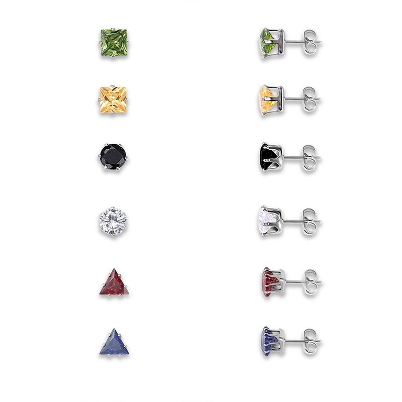 Round Square Trangle Rhinestone Alloy Colorful Combination Earrings