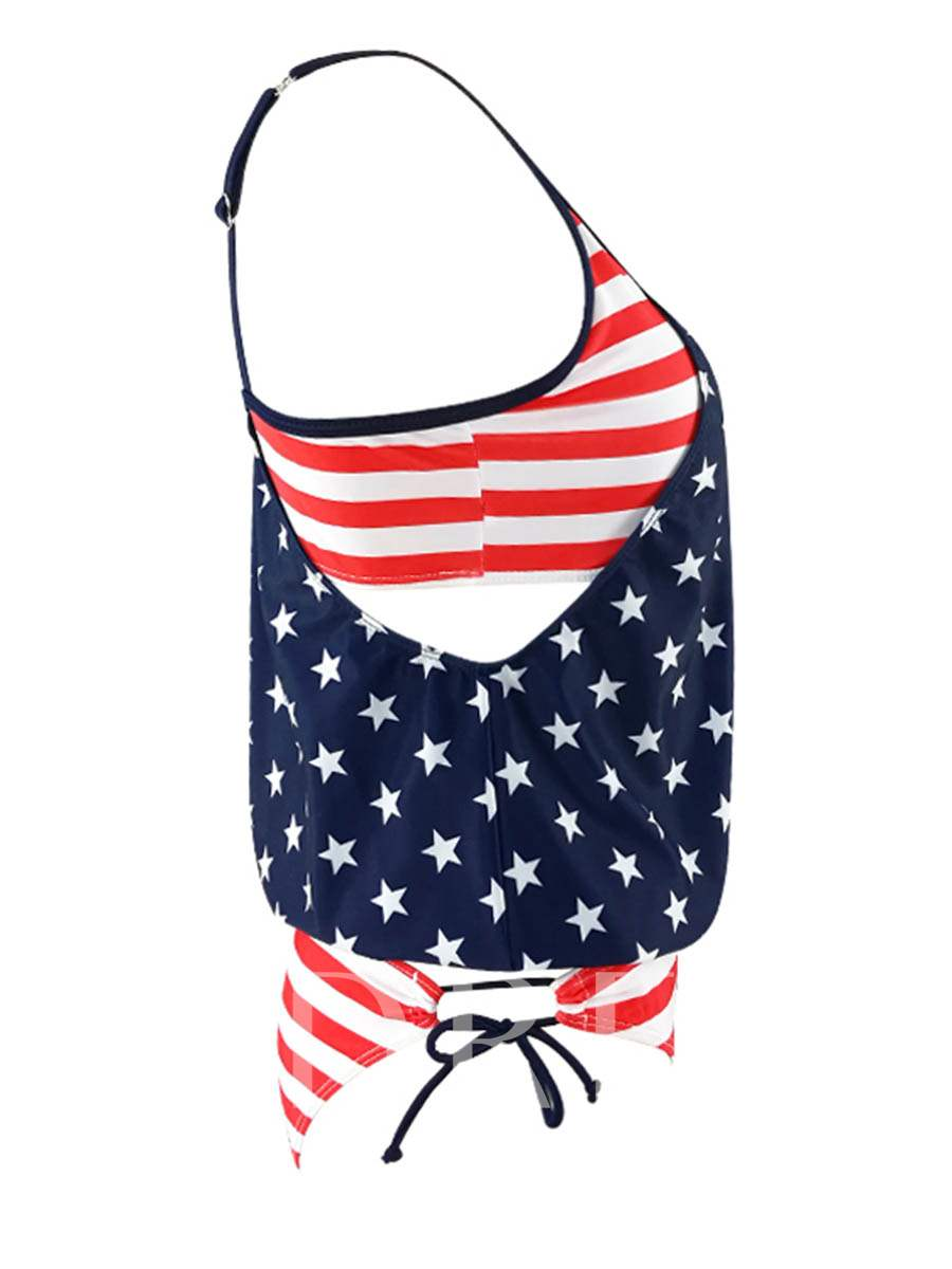 Spaghetti Strap American Flag Tankini Set (Plus Size Available)
