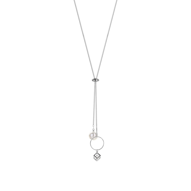 Cube Round Pearl Simple Alloy Necklace