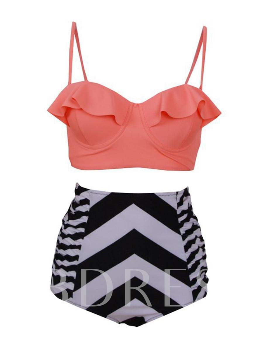 Plus Size Fresh Falbala Geometric Print Tankini Set