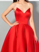 Sweetheart Pleats Asymmetry Ball Gown Evening Dress