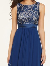 Scoop Neck Sleeveless Zipper-Up Ankle-Length Evening Dress