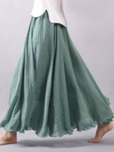 Ethnic Style Pleated Plain Expansion Women's Skirt