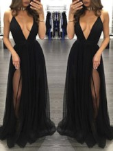 Deep V-Neck Split-Front Black Sexy Evening Dress