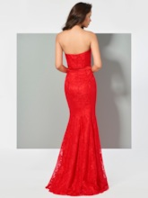 Strapless Mermaid Lace Red Evening Dress