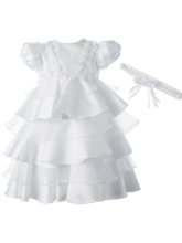 Baby Girls Tiered Pleats Christening Gown with Headband