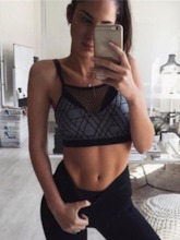 Print Hollow Out Halter Camisole Yoga Mesh Short Gym Tank Tops