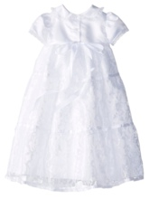 Lace Edge Short Sleeves Baby Girl's Christening Gown