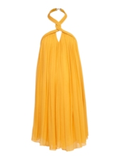 Pleated Backless Halter Women's Party Dress