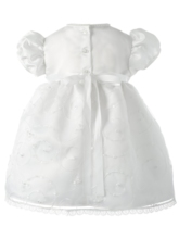 Short Sleeves Lace Edge Baby Girl's Christening Gown