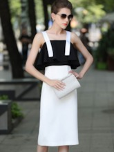 Color Block Off Shoulder Women's Sheath Dress